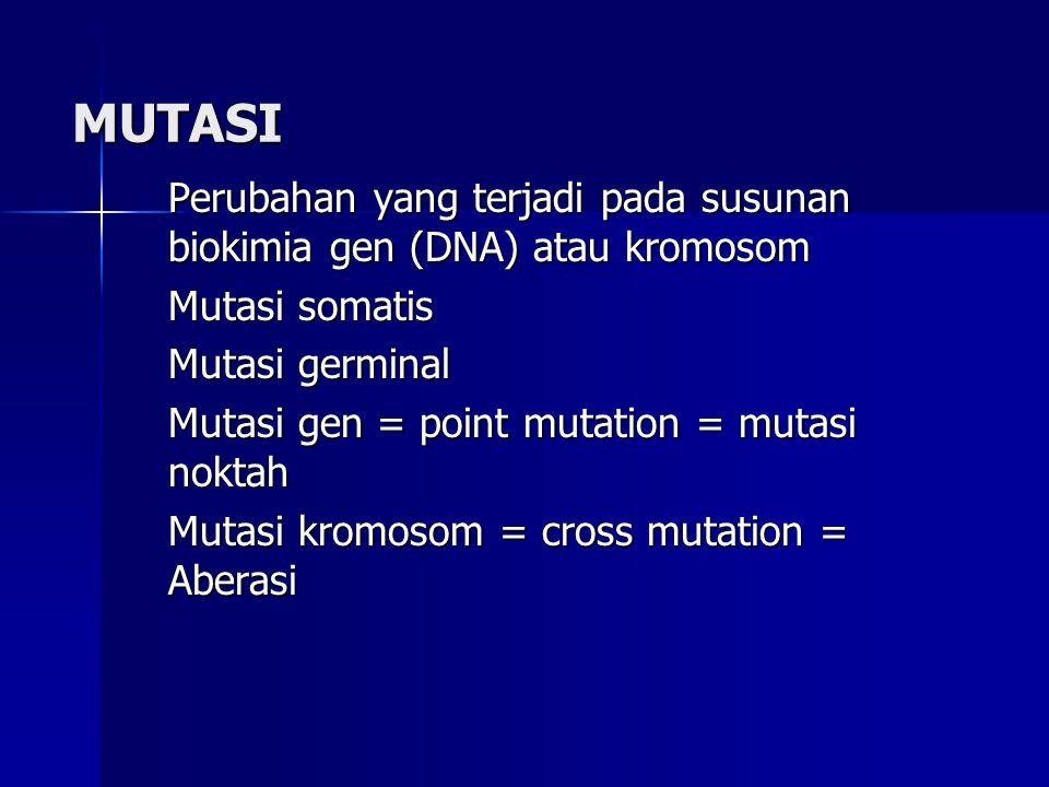 MUTASI Perubahan yang terjadi pada susunan biokimia gen (DNA) atau kromosom. Mutasi somatis. Mutasi germinal.