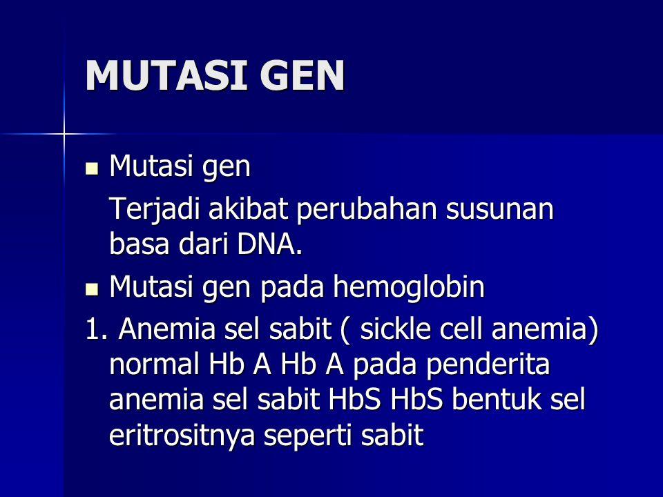MUTASI GEN Mutasi gen Terjadi akibat perubahan susunan basa dari DNA.