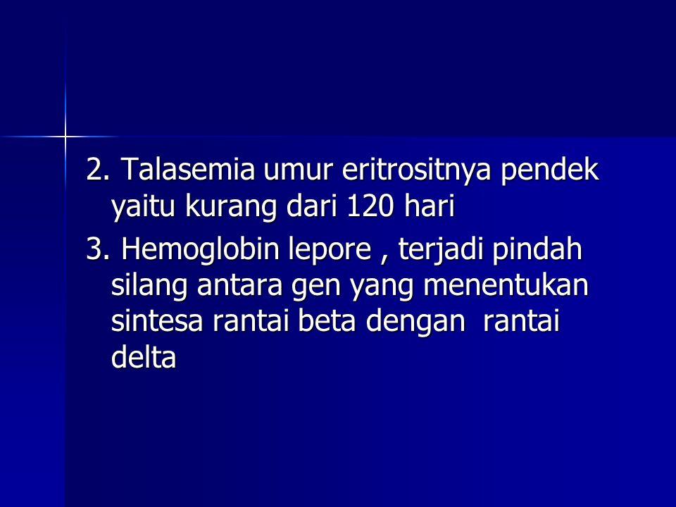 2. Talasemia umur eritrositnya pendek yaitu kurang dari 120 hari