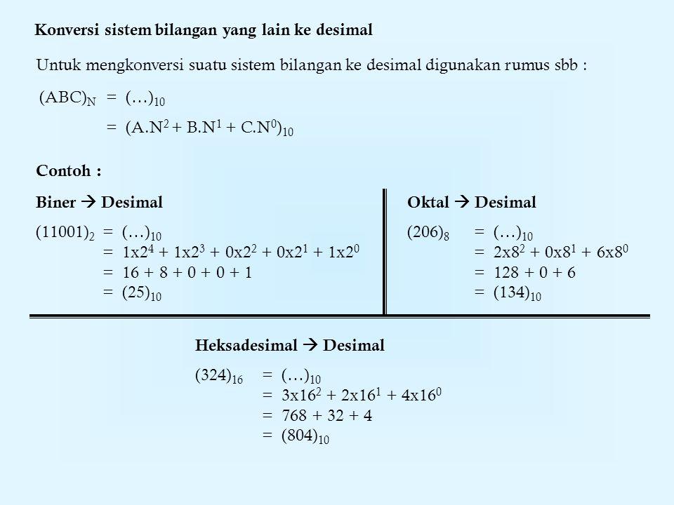 Konversi sistem bilangan yang lain ke desimal