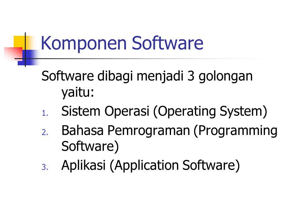 Komponen Software Software dibagi menjadi 3 golongan yaitu: