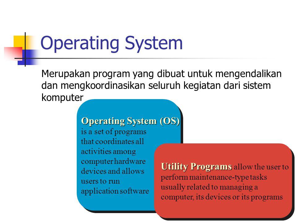 Operating System Merupakan program yang dibuat untuk mengendalikan dan mengkoordinasikan seluruh kegiatan dari sistem komputer.