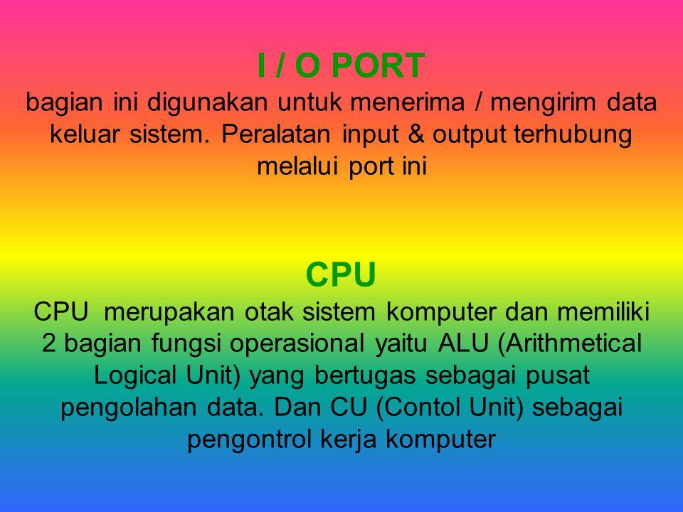 I / O PORT bagian ini digunakan untuk menerima / mengirim data keluar sistem.