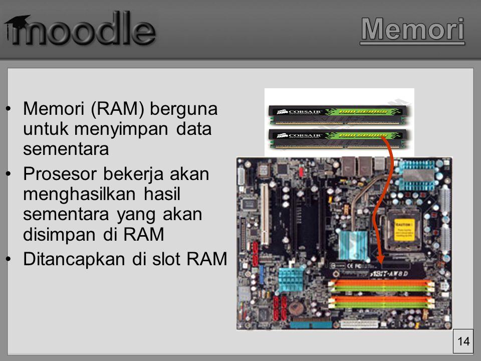 Memori Memori (RAM) berguna untuk menyimpan data sementara