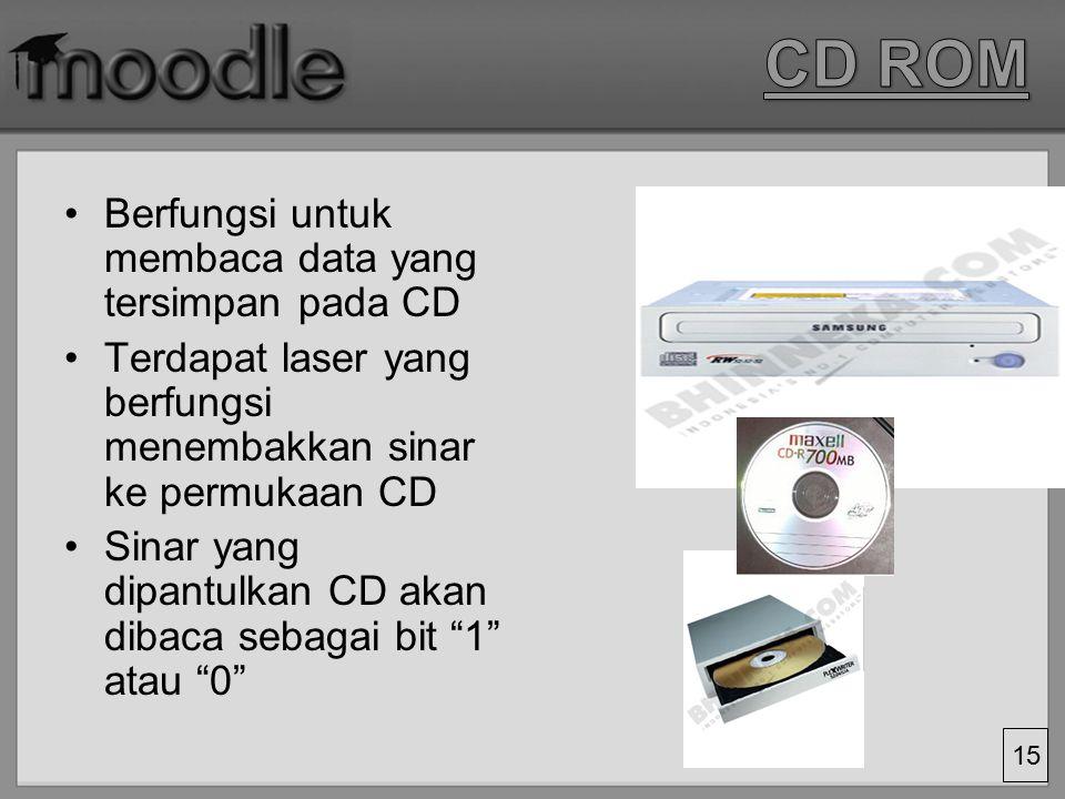 CD ROM Berfungsi untuk membaca data yang tersimpan pada CD