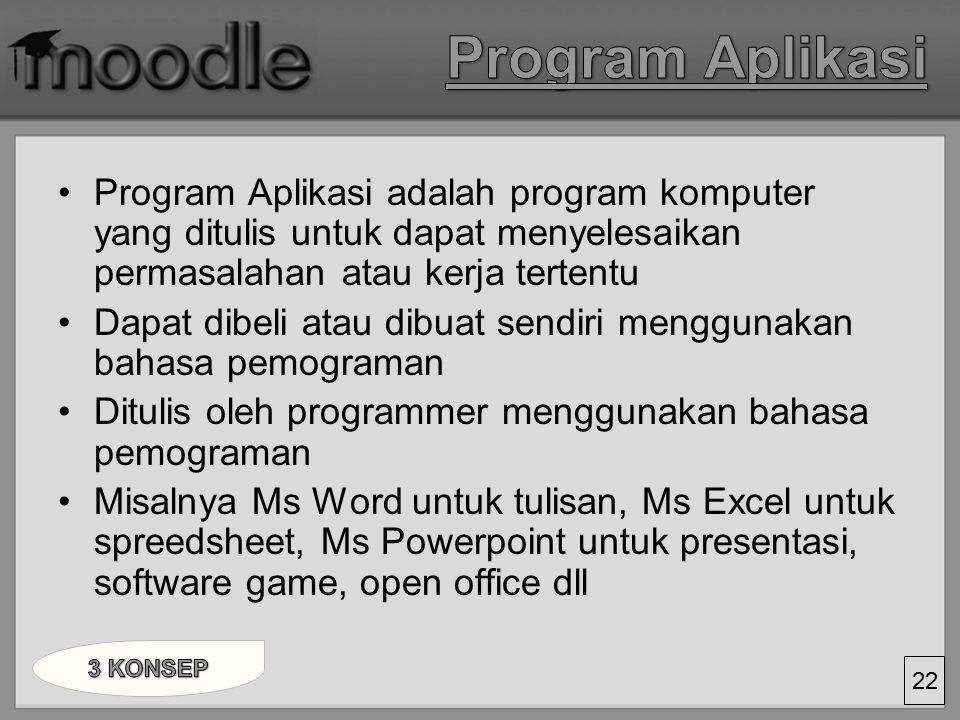 Program Aplikasi Program Aplikasi adalah program komputer yang ditulis untuk dapat menyelesaikan permasalahan atau kerja tertentu.