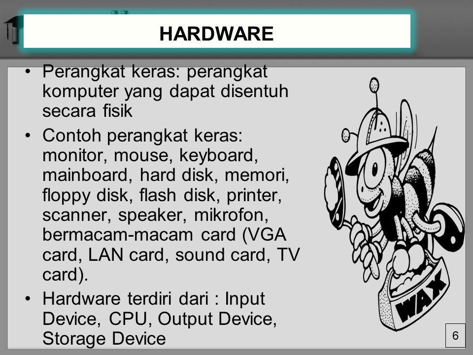 HARDWARE Perangkat keras: perangkat komputer yang dapat disentuh secara fisik.