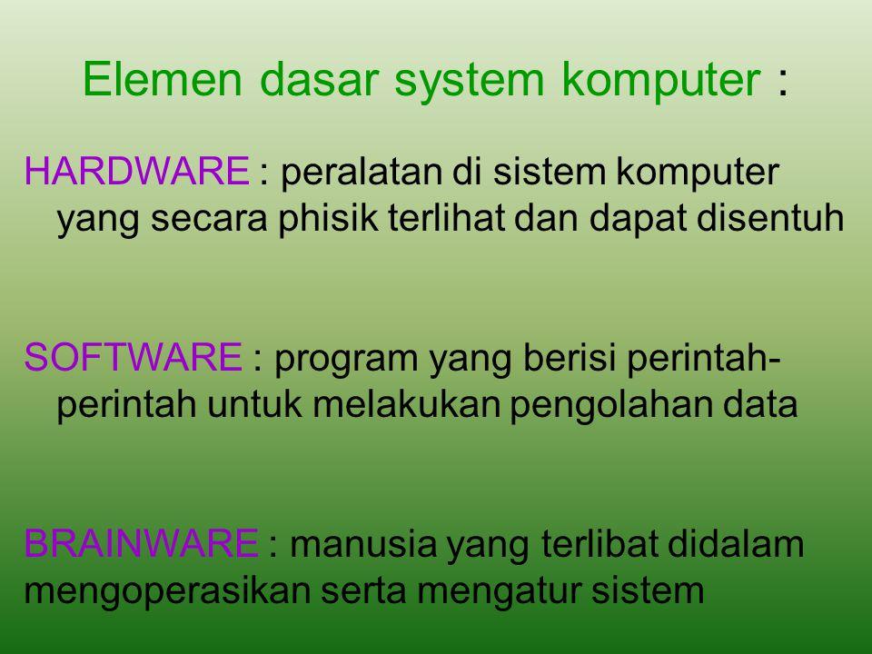 Elemen dasar system komputer :