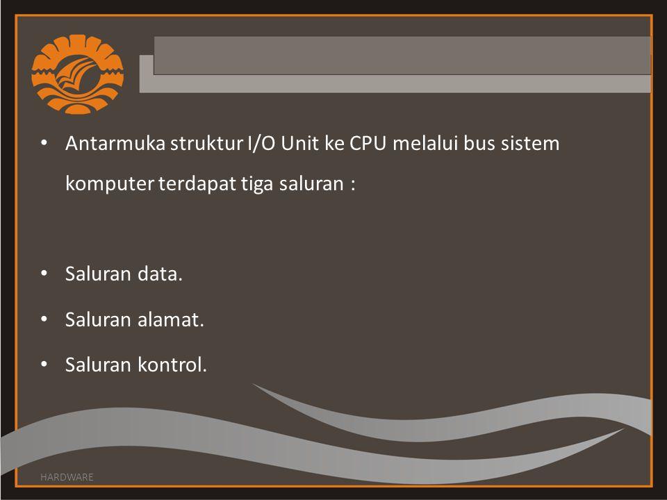 Antarmuka struktur I/O Unit ke CPU melalui bus sistem komputer terdapat tiga saluran :
