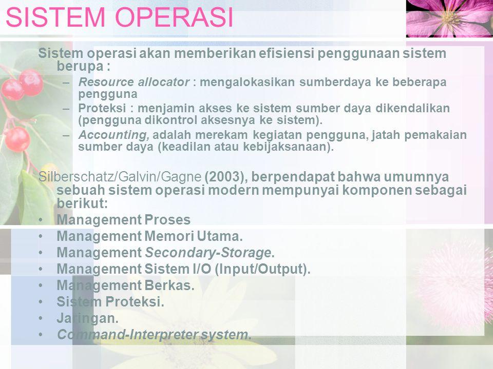 SISTEM OPERASI Sistem operasi akan memberikan efisiensi penggunaan sistem berupa :