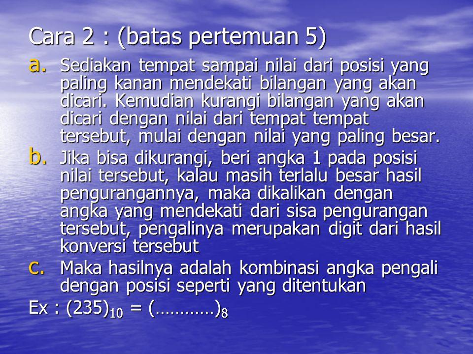 Cara 2 : (batas pertemuan 5)