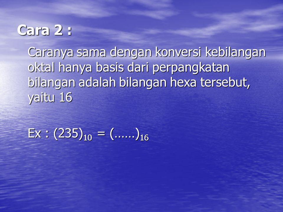 Cara 2 : Caranya sama dengan konversi kebilangan oktal hanya basis dari perpangkatan bilangan adalah bilangan hexa tersebut, yaitu 16.