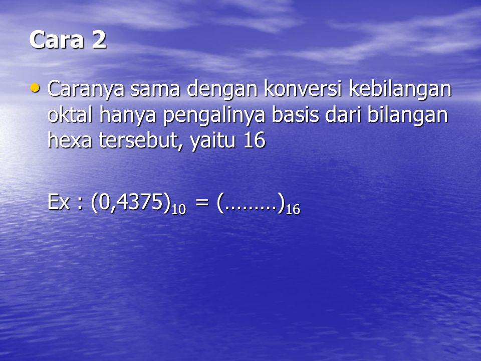 Cara 2 Caranya sama dengan konversi kebilangan oktal hanya pengalinya basis dari bilangan hexa tersebut, yaitu 16.