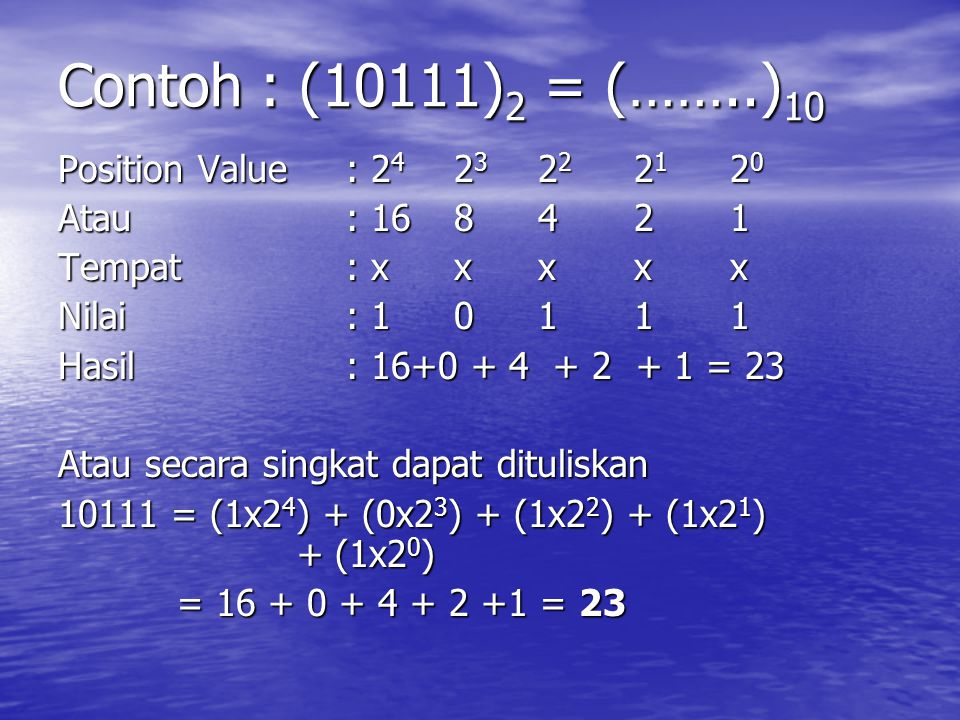 Contoh : (10111)2 = (……..)10 Position Value : 24 23 22 21 20