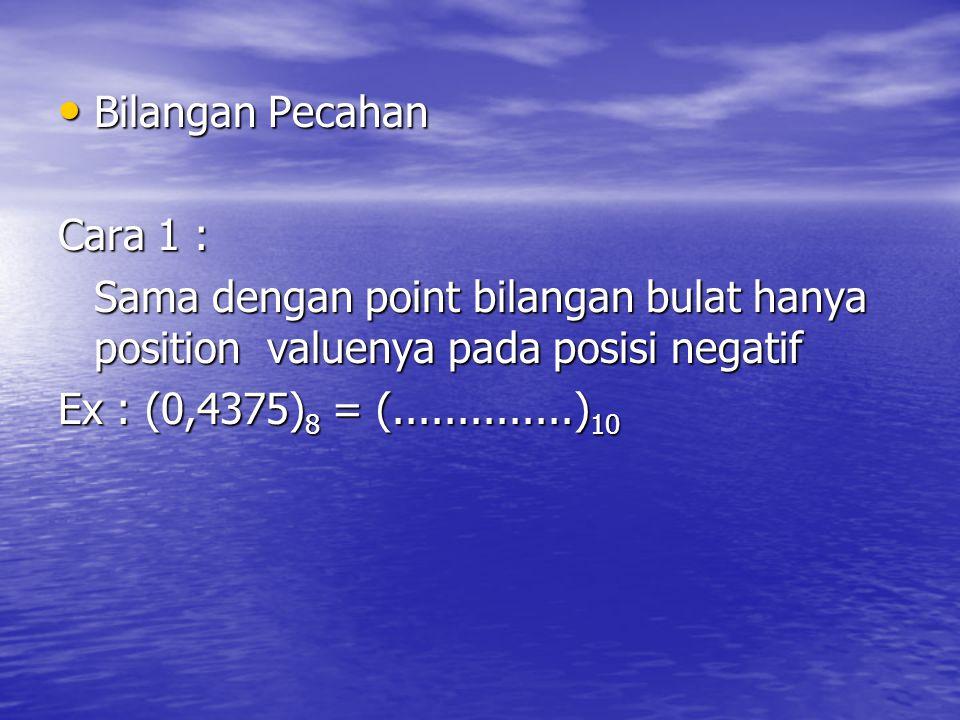 Bilangan Pecahan Cara 1 : Sama dengan point bilangan bulat hanya position valuenya pada posisi negatif.