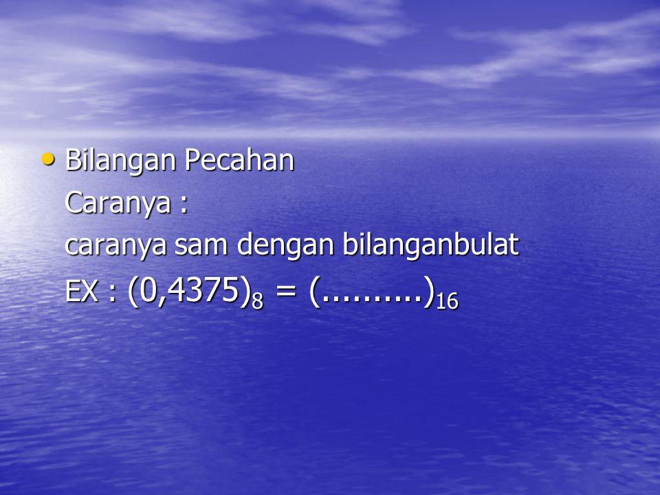 Bilangan Pecahan Caranya : caranya sam dengan bilanganbulat EX : (0,4375)8 = (..........)16