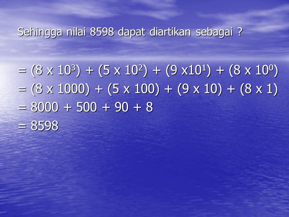Sehingga nilai 8598 dapat diartikan sebagai