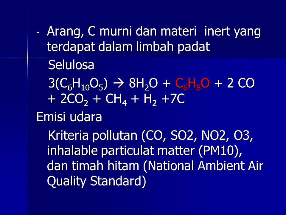 Arang, C murni dan materi inert yang terdapat dalam limbah padat