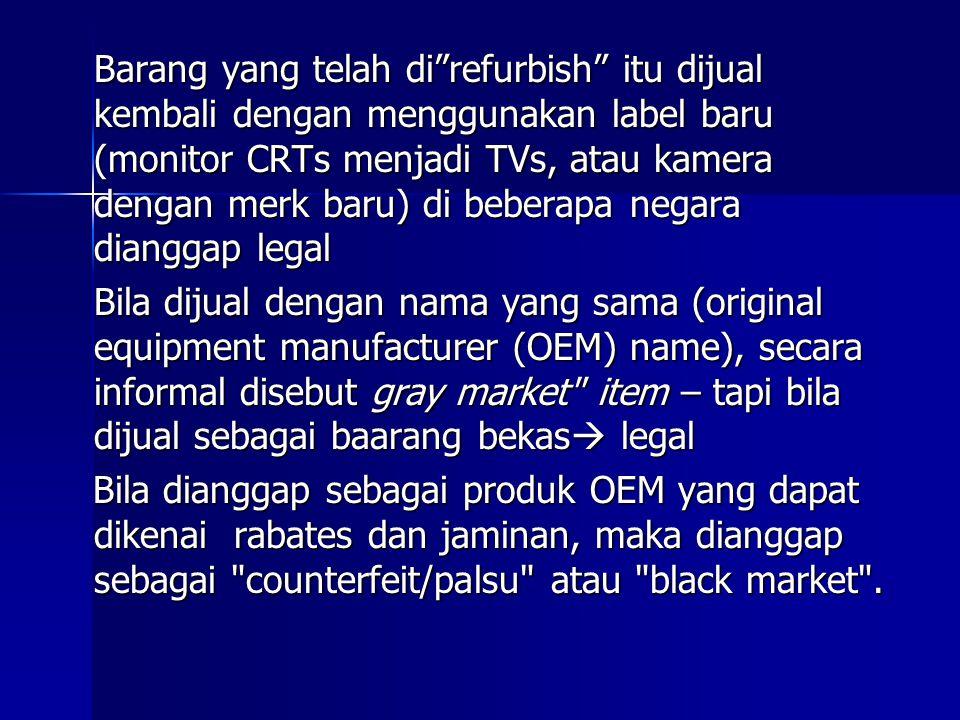 Barang yang telah di refurbish itu dijual kembali dengan menggunakan label baru (monitor CRTs menjadi TVs, atau kamera dengan merk baru) di beberapa negara dianggap legal
