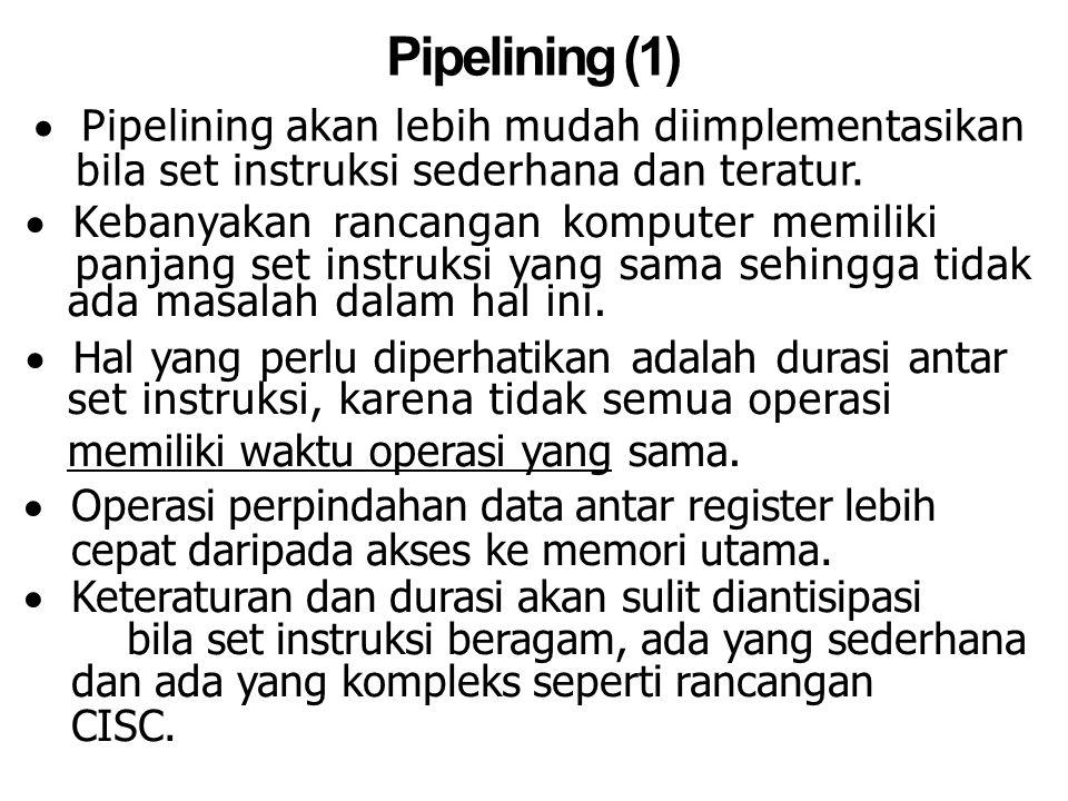 Pipelining (1) Pipelining akan lebih mudah diimplementasikan