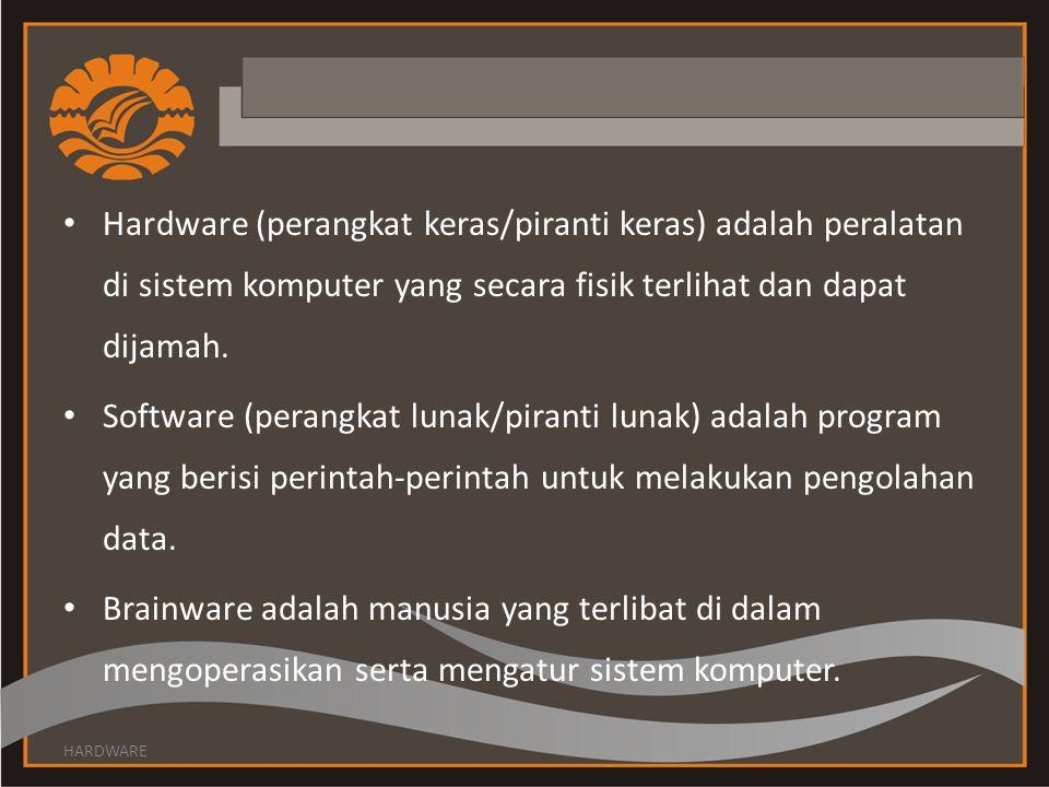 Hardware (perangkat keras/piranti keras) adalah peralatan di sistem komputer yang secara fisik terlihat dan dapat dijamah.