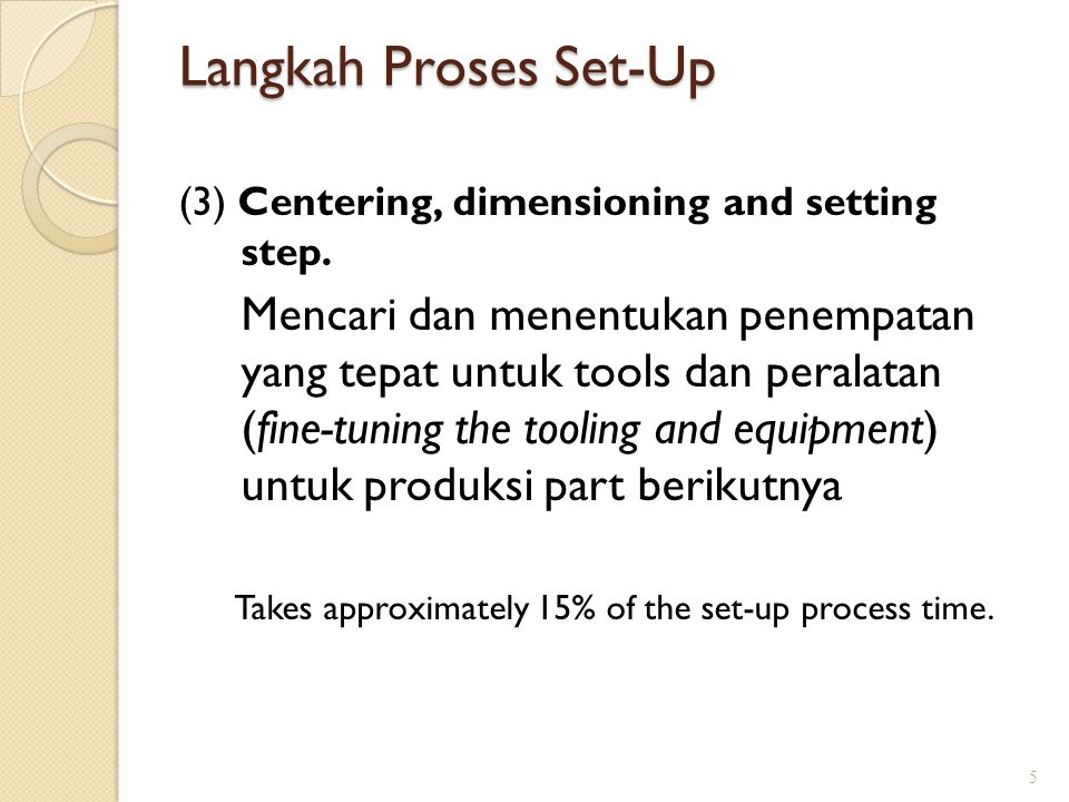 Langkah Proses Set-Up (3) Centering, dimensioning and setting step.
