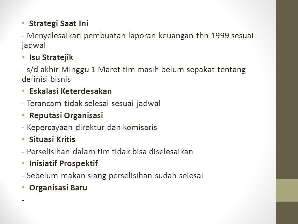 Strategi Saat Ini - Menyelesaikan pembuatan laporan keuangan thn 1999 sesuai jadwal. Isu Stratejik.