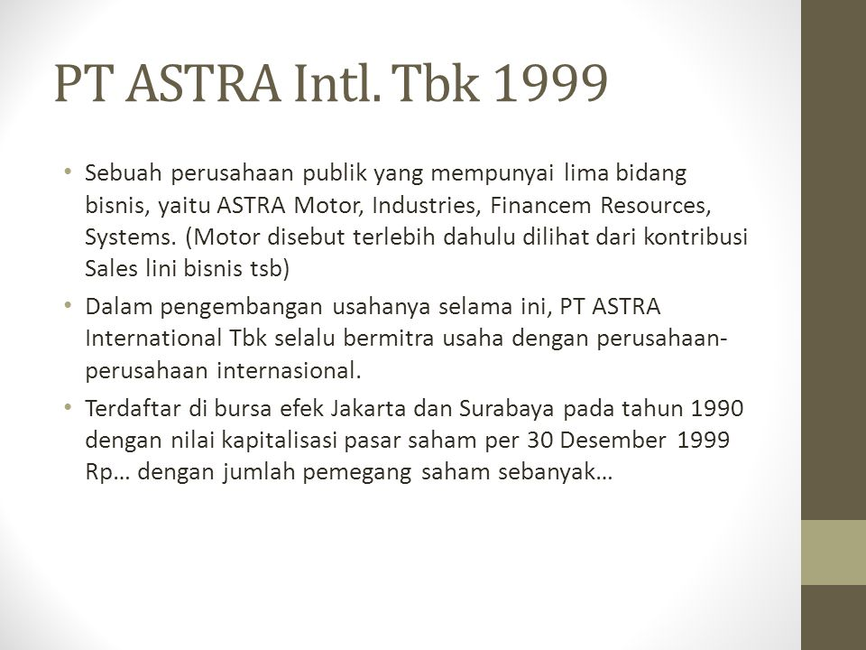 PT ASTRA Intl. Tbk 1999