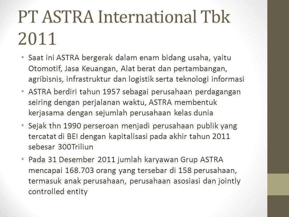 PT ASTRA International Tbk 2011