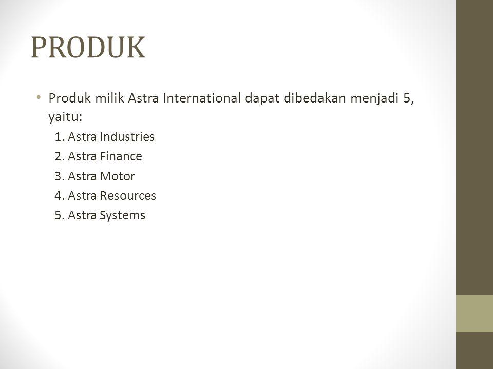 PRODUK Produk milik Astra International dapat dibedakan menjadi 5, yaitu: 1. Astra Industries. 2. Astra Finance.