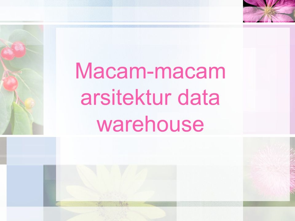 Macam-macam arsitektur data warehouse