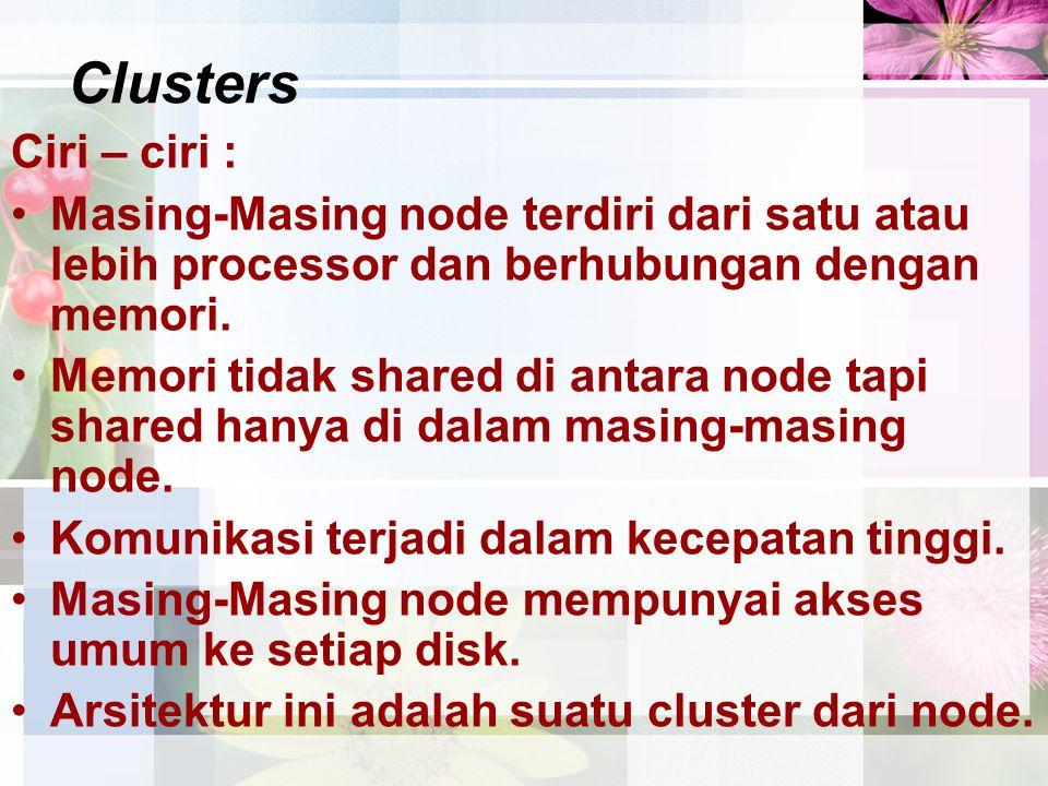 Clusters Ciri – ciri : Masing-Masing node terdiri dari satu atau lebih processor dan berhubungan dengan memori.