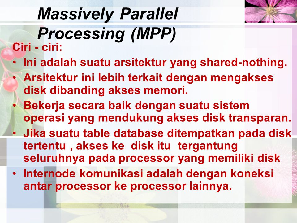 Massively Parallel Processing (MPP)