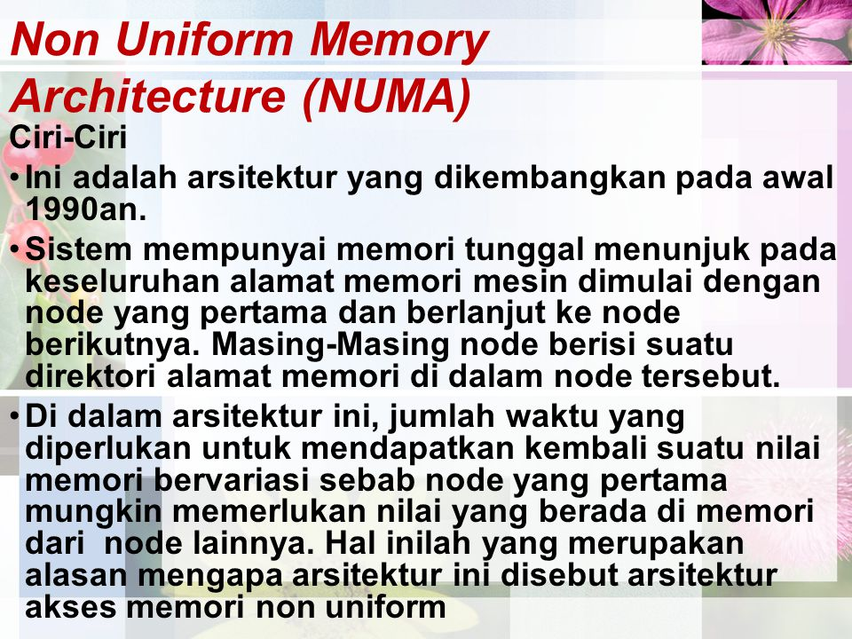 Non Uniform Memory Architecture (NUMA)