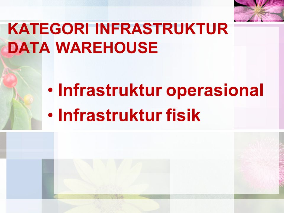 KATEGORI INFRASTRUKTUR DATA WAREHOUSE