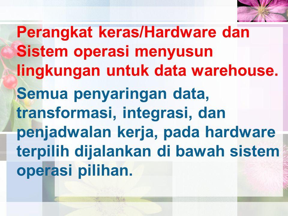 Perangkat keras/Hardware dan Sistem operasi menyusun lingkungan untuk data warehouse.
