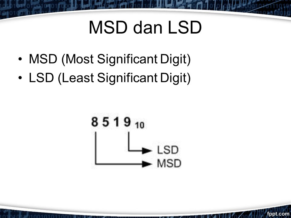 MSD dan LSD MSD (Most Significant Digit) LSD (Least Significant Digit)