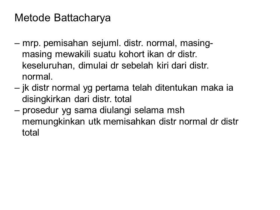 Metode Battacharya – mrp. pemisahan sejuml. distr. normal, masing-