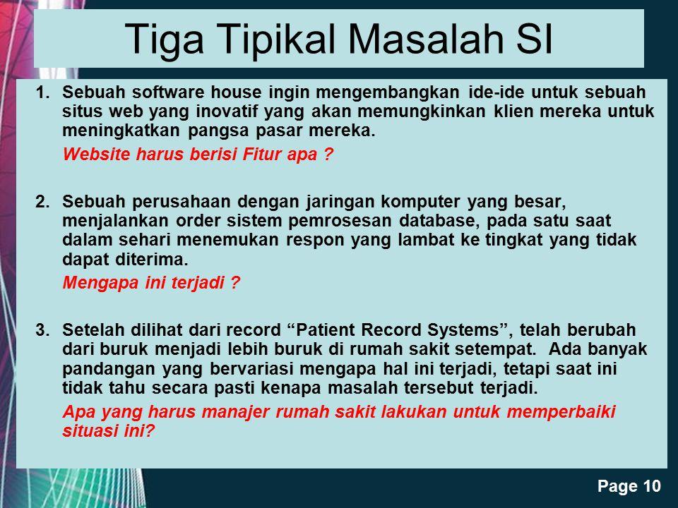Tiga Tipikal Masalah SI