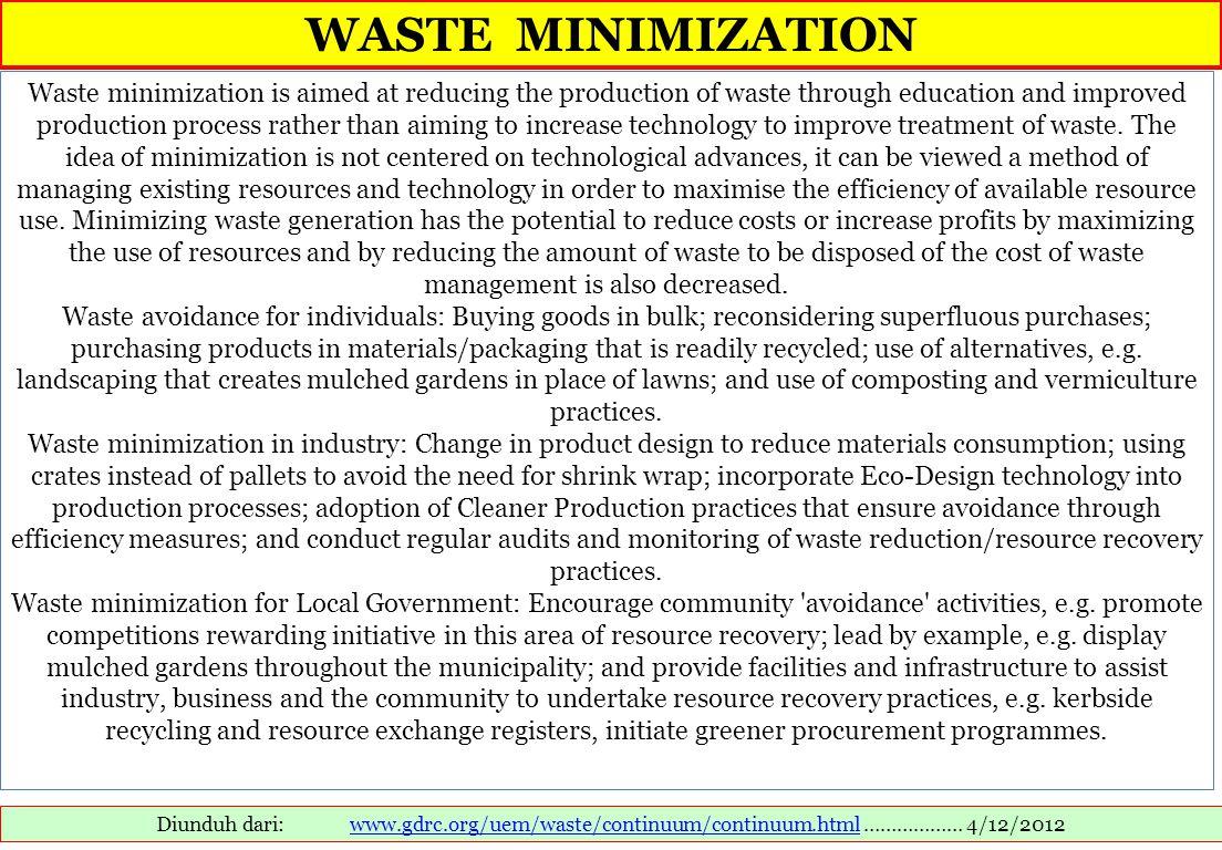 WASTE MINIMIZATION