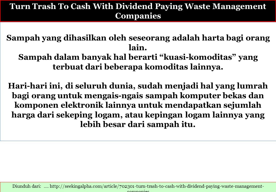 Turn Trash To Cash With Dividend Paying Waste Management Companies