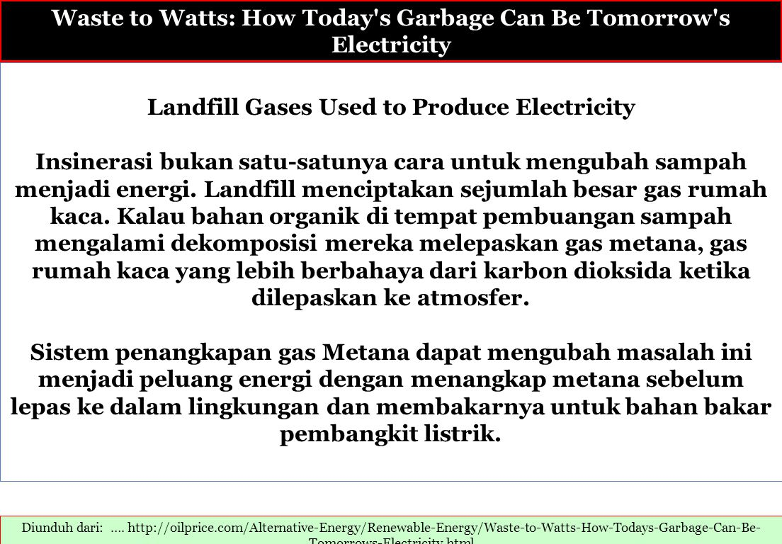Waste to Watts: How Today s Garbage Can Be Tomorrow s Electricity