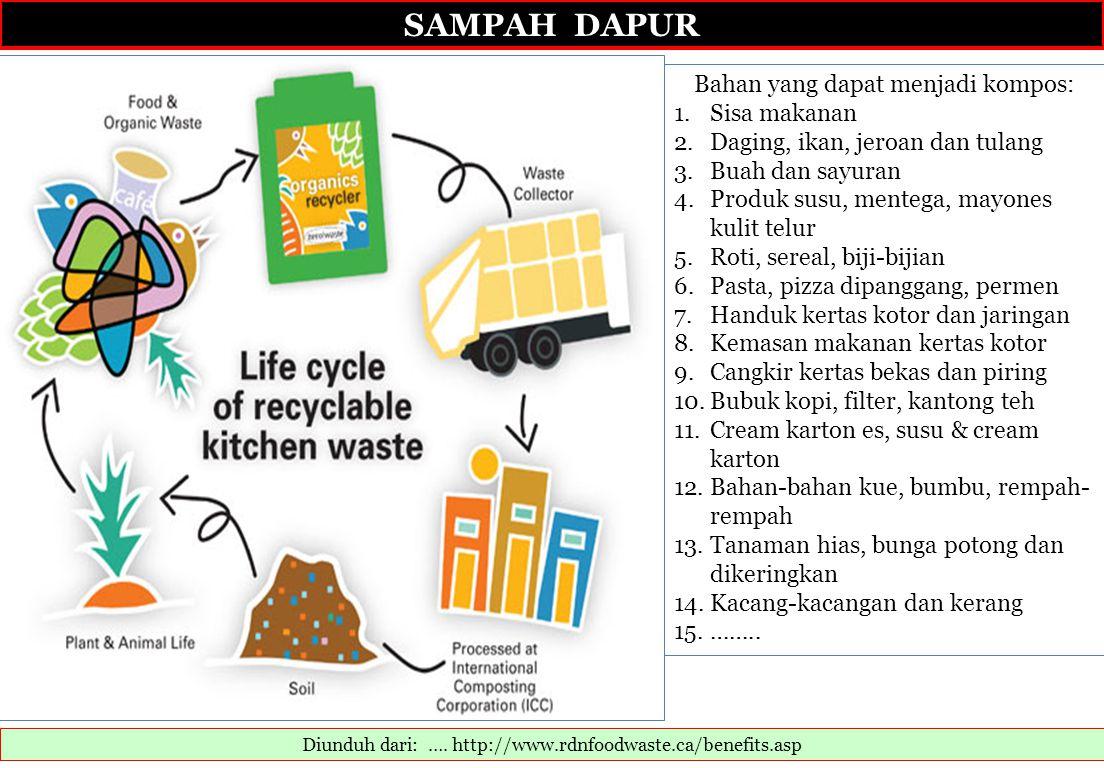 SAMPAH DAPUR Bahan yang dapat menjadi kompos: Sisa makanan