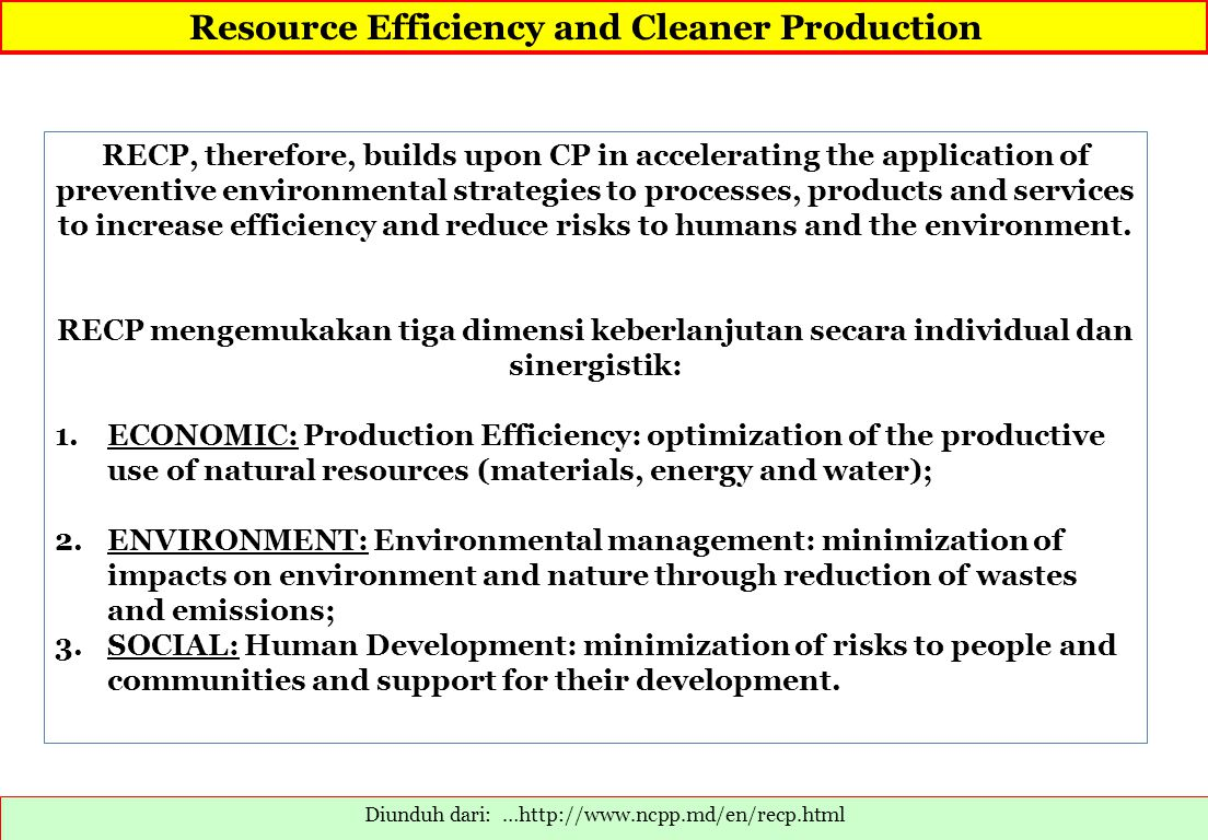 Resource Efficiency and Cleaner Production