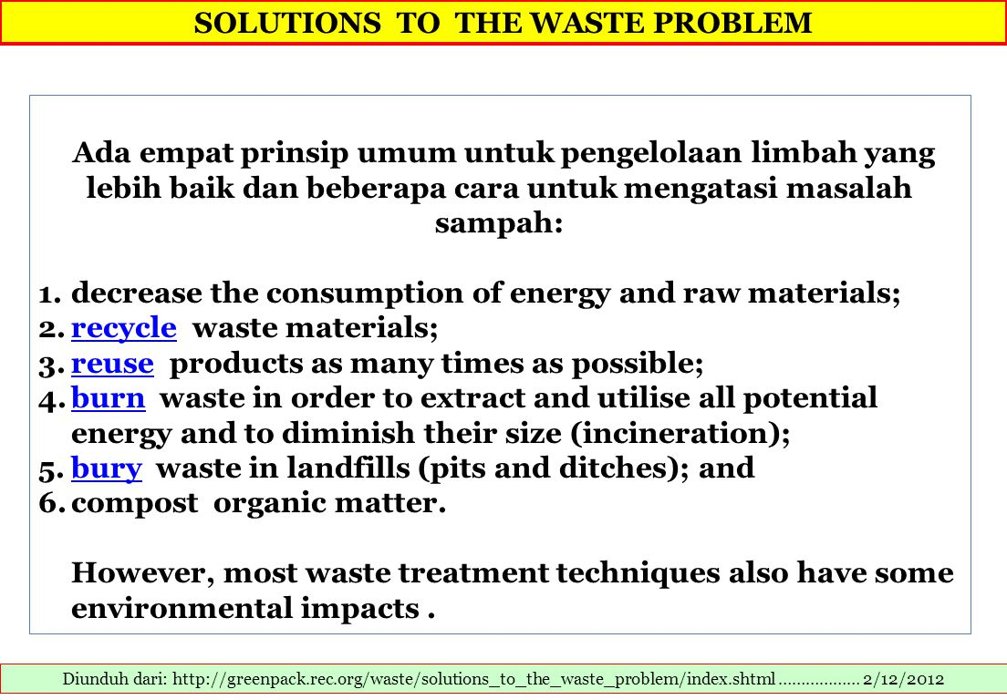 SOLUTIONS TO THE WASTE PROBLEM