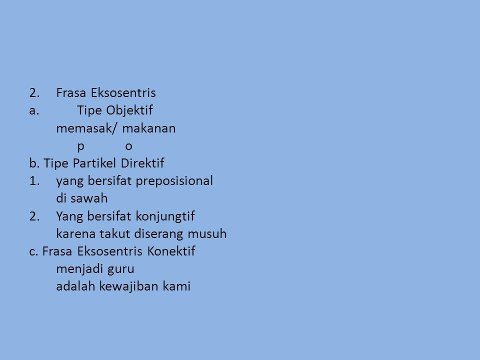 Frasa Eksosentris Tipe Objektif. memasak/ makanan. p o. b. Tipe Partikel Direktif. yang bersifat preposisional.