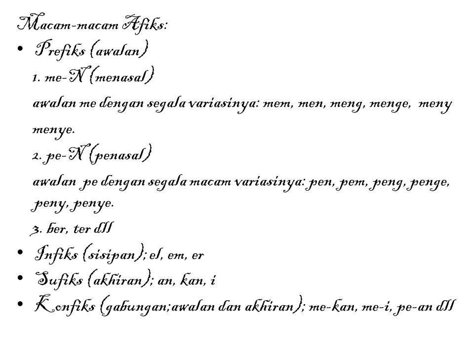 Macam-macam Afiks: Prefiks (awalan) 1. me-N (menasal) awalan me dengan segala variasinya: mem, men, meng, menge, meny.