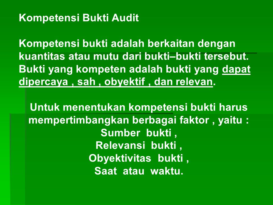 Kompetensi Bukti Audit