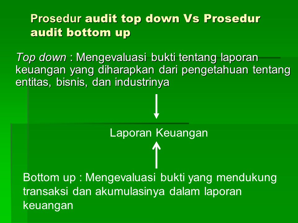 Prosedur audit top down Vs Prosedur audit bottom up