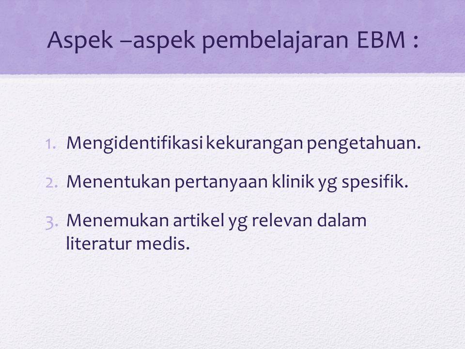 Aspek –aspek pembelajaran EBM :